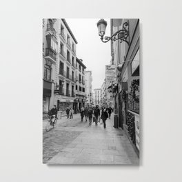 Morning Street Scene in Madrid BW Metal Print