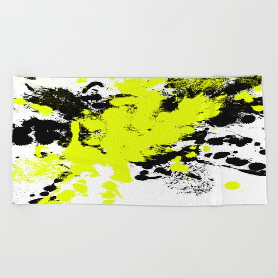 Surprise! Black and yellow abstract paint splat artwork Beach Towel