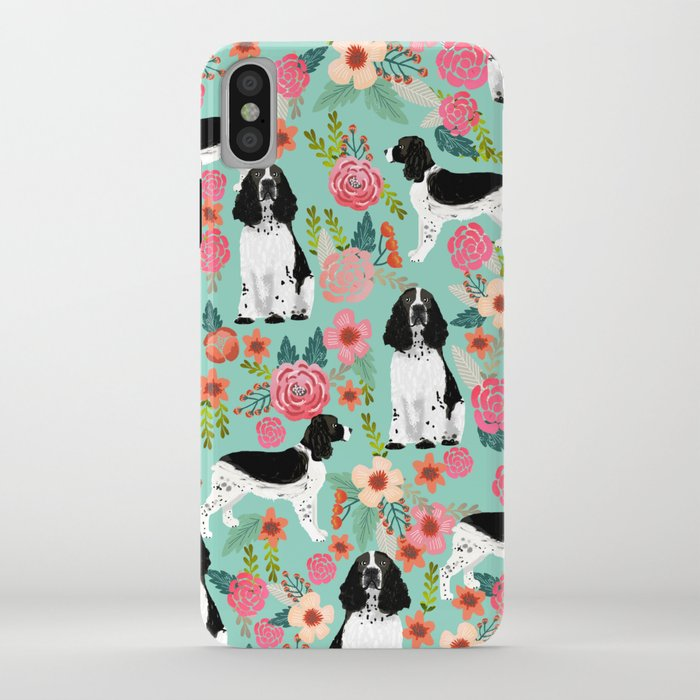 english springer spaniel dog breed florals dog gifts for dog lovers dog breeds iphone case