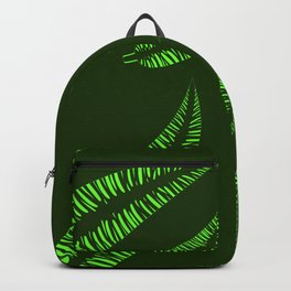 Pattern of green leaves of a palm tree on a green background. Backpack