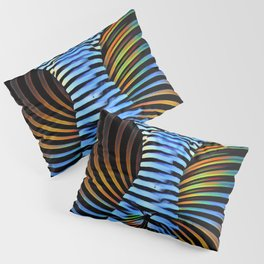 3506-DEW Kneeling Nude Striped Figure in Abstract Power Form Pillow Sham