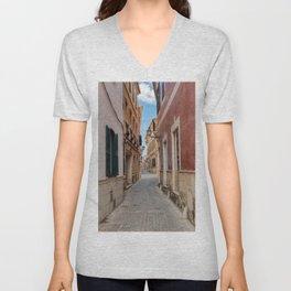 Narrow street in Ciutadella with old houses - Menorca, Spain Unisex V-Neck