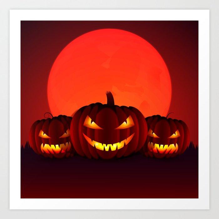 Happy Halloween 3 Pumpkins Art Print By Createdprototype Society6