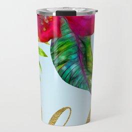 Electric Pop Tropical Flowers Travel Mug