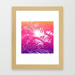 Tropical Orange Pink and Purple Palm Fronds Framed Art Print