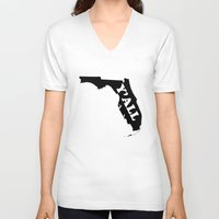 florida V-neck T-shirts featuring Florida Yall by Spooky Dooky