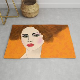 Woman with Red Hair in a Feather Dress Rug