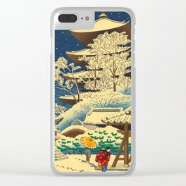 Japanese Woodblock Print Vintage Asian Art Colorful woodblock prints Shrine At Night Snow White Clear iPhone Case