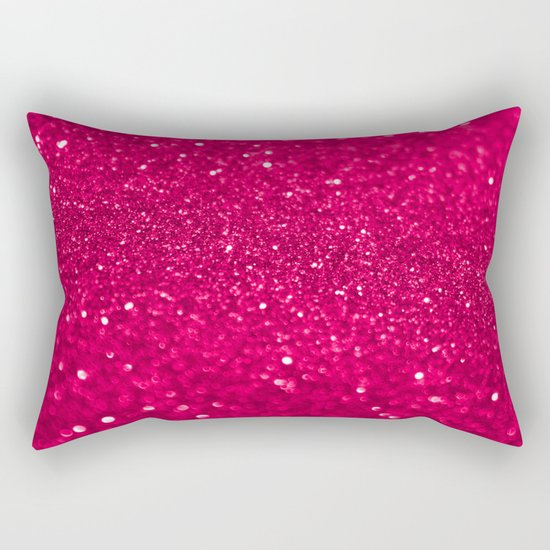 Bright Pink Glitter Rectangular Pillow