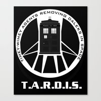 agents of shield Canvas Prints featuring Agents of TARDIS black and white Agents of Shield, Doctor Who mash up by Whimsy and Nonsense
