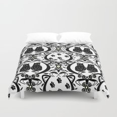 Midnight Cat Does Damask  Duvet Cover
