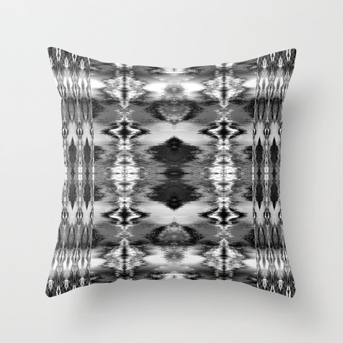B&W Watercolor Ikat Throw Pillow