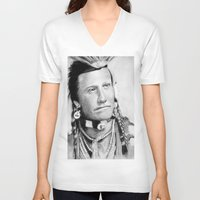 native american V-neck T-shirts featuring Native American by chomaee