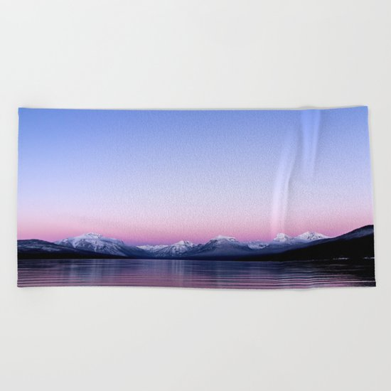 pastel mountain lake sunset Beach Towel