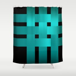 Abstraction .Weave turquoise satin ribbons . Patchwork . Shower Curtain