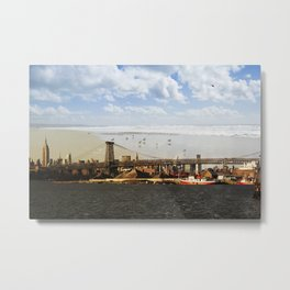 A HELICOPTER IN HER SKY, A SEAGULL ON HIS BRIDGE Metal Print