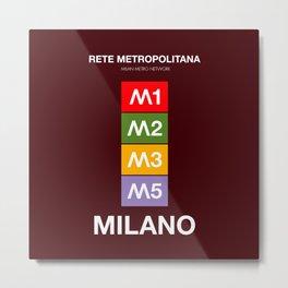 Milan metro map, Bob Noorda, Massimo Vignelli, subway alphabet map Metal Print