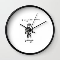 video games Wall Clocks featuring I play video games by Clifford Allen