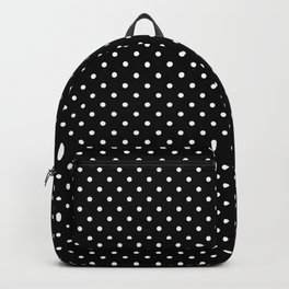 Small White Polkadots On Black Backpack
