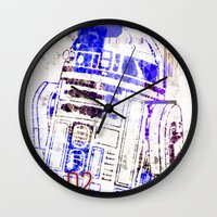 r2d2 Wall Clocks featuring R2D2 by mchlsrr
