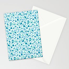 Terrazzo in Peacock Blue, Mint on White Stationery Cards