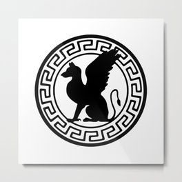 Griffin in Greca Metal Print
