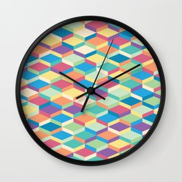 Colorful Squares Pattern Wall Clock