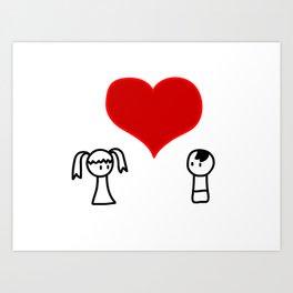 Cute boy and girl love doodle Art Print