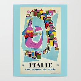Retro naive cubist Italian beaches, mermaid travel ad Poster