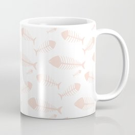 Fishes skeleton pattern soft pink on white Coffee Mug
