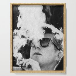 JFK Cigar and Sunglasses Cool President Photo Photo paper poster Serving Tray