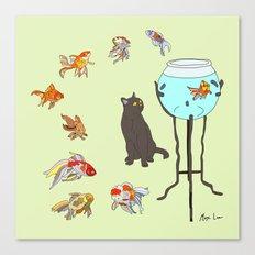Cat and Goldfish Bowl Canvas Print