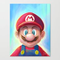 mario kart Canvas Prints featuring Mario Portrait by Laurence Andrew Page Illustrator
