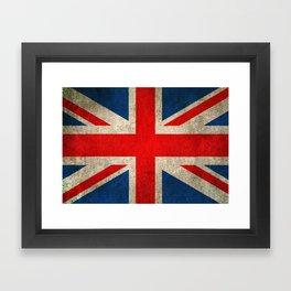 Old and Worn Distressed Vintage Union Jack Flag Framed Art Print