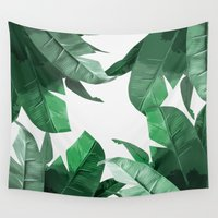 palm Wall Tapestries featuring Tropical Palm Print by Tamsin Lucie