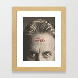 Wall Street, alternative movie poster, Gordon Gekko, Oliver Stone, film, minimal fine art playbill Framed Art Print