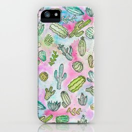 Cute Girly Watercolor Paint Summer Cactus Pattern iPhone Case