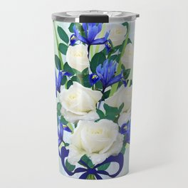 Blue Iris and Roses Bouquet with Blue Bow Travel Mug