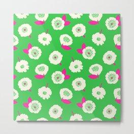Floating Flower Bright Green Metal Print