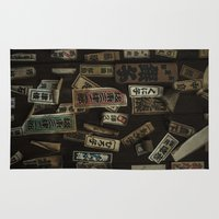 stickers Area & Throw Rugs featuring Kyoto Name Stickers 1 by Jason Halayko