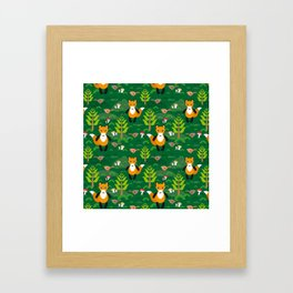 Fox and birds in the forest Framed Art Print