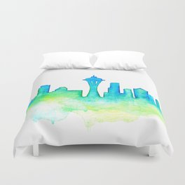 Seattle Skyline Watercolor in Blue and Green Duvet Cover