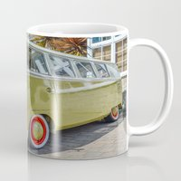 lime green Mugs featuring Lime Green Camper Van by Cornish Creations