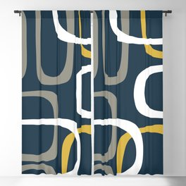 Mid Century Modern Loops Pattern in Light Mustard Yellow, Navy Blue, Gray, and White Blackout Curtain