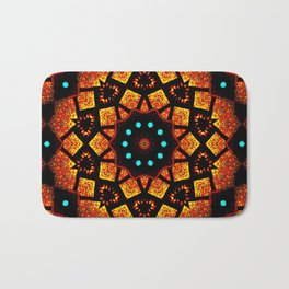 Bright Red Orange Mosaic Kaleidoscope Mandala Bath Mat