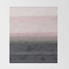 Touching Blush Black Watercolor Abstract #1 #painting #decor #art #society6 Throw Blanket