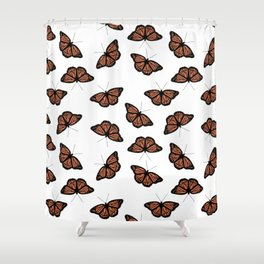 Orange Monarch Butterfly Symbol Change Transition Growth Let Go Logo Quote Shower Curtain