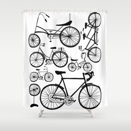 Bicycle Art Black and White - Bikes Shower Curtain