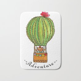 Ms Neko in cactus hot baloon Bath Mat