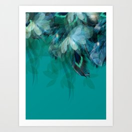 DREAMY FEATHERS & LEAVES - Deep Cyan Art Print
